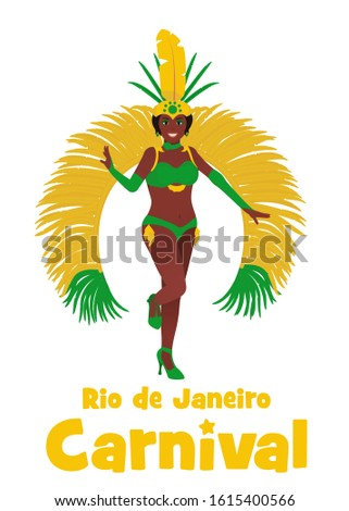 Brazilian samba dancer character illustration. Stock vector isolated on white background. Beautiful woman in carnival costume at the festival in Rio de Janeiro.