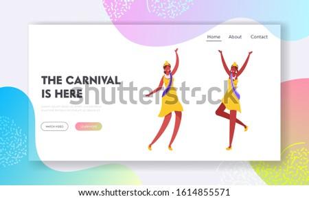 Brazilian Samba Dancer, Miss Beauty Website Landing Page. Women Wear Festival Dresses, Crowns and Shoulder Ribbon Dancing at Carnival in Rio De Janeiro Web Page. Cartoon Flat Vector Illustration