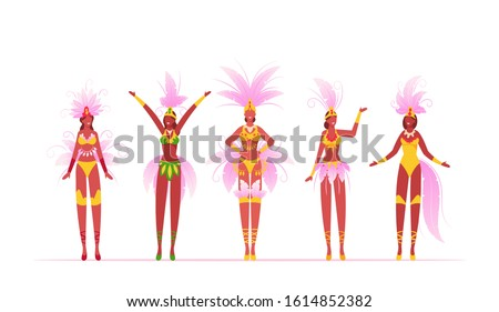 Brazilian Samba Dancers Women Isolated on White Background, Brazil Culture, Carnival in Rio De Janeiro, Girls Wearing Festival Costumes with Feather Wings Dancing. Cartoon Flat Vector Illustration