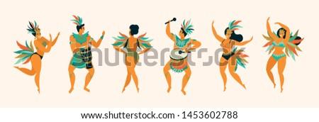 Brazilian samba posters. Carnival in Rio de Janeiro dancers wearing a festival costume is dancing. Vector illustration.