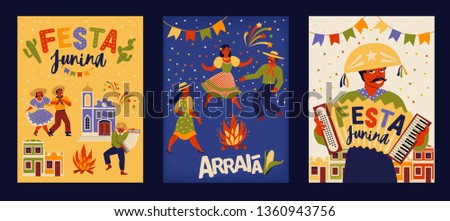 Brazilian Traditional Celebration Festa Junina. Portuguese Brazilian Text saying Fair. Festa de Sao Joao. Festive Typographic Vector Art.