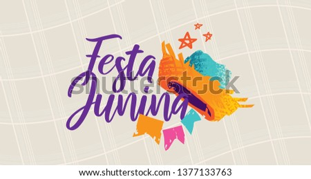 Brazilian Traditional Celebration Festa Junina.  Portuguese Brazilian Text saying Festa Junina. Festa de Sao Joao. Festive Typographic Vector Art. Colorful composition.
