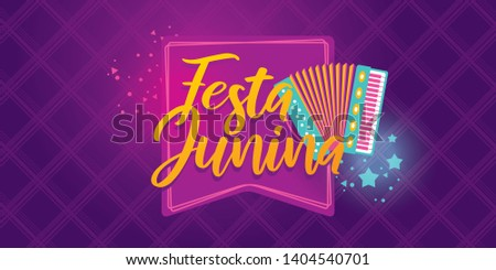 Brazilian Traditional Celebration Festa Junina.  Portuguese Brazilian Text saying June Party. Festa de Sao Joao. Festive Typographic Vector Art.