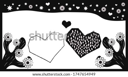Brazilian woodcut style vector of two hearts and cactus under starry sky