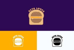 bread and burger logo. Keto bread lovers logo concept. food logo, foody, bread, burger logo.