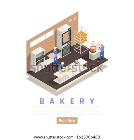 Bread and confectionery bakery interior isometric composition with staff kneading rolling dough industrial mixer oven vector illustration