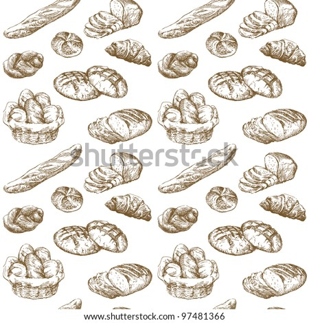 bread, bakery - hand drawn seamless pattern