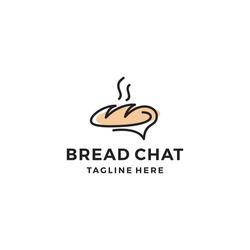 Bread chat logo design vector illustration