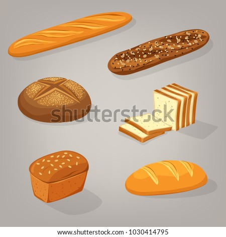 Bread food variety. Brick butterbrot loaf or anadama, baton or baguette, toasts. Pastry and bakery, harvest and cereal, rye and wheat theme for bakehouse or shop, store, natural rural nutrition