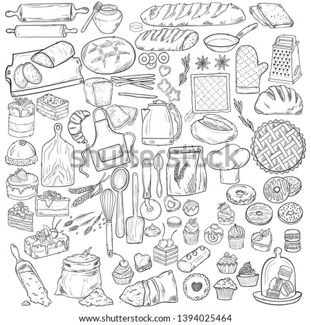 Bread hand drawn set illustration. Vintage pastry, desserts, cakes vector sketches for bakery shop or cafeteria. Other types of wheat, flour fresh bread. Vector graphic, stylized image of baking set g