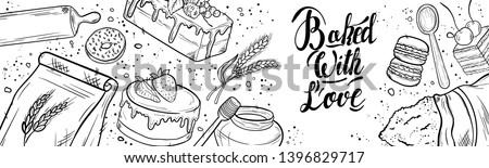 Bread hand drawn set illustration. Vintage pastry, desserts, cakes, wheat, flour fresh bread sketches for bakery shop or cafeteria. Vector graphic, stylized image set graphic element for menu