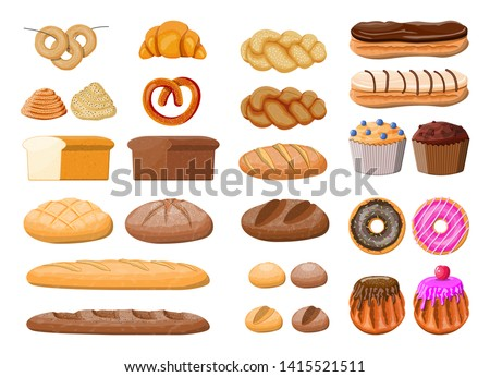 Bread icons set. Whole grain, wheat rye bread, toast, pretzel ciabatta, croissant, bagel, french baguette cinnamon bun. Sweet desserts. Pastry bakery. Eclair donut muffin. Vector illustration flat