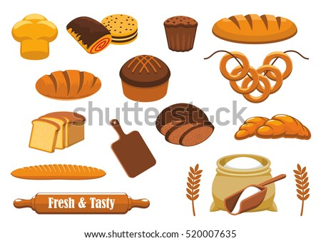 bread isolated icon set with
