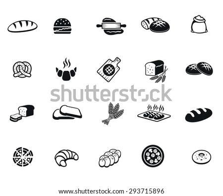 bread set of vector black icon