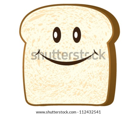 Bread slice isolated on white, vector