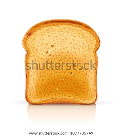 Bread toast for sandwich piece of roasted crouton. Lunch, dinner, breakfast snack. Isolated white background. EPS10 vector illustration. ストックフォト ©