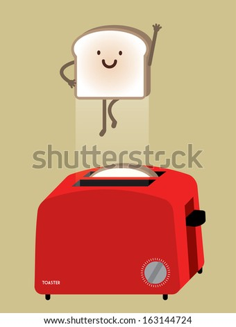 bread toaster with flying bread vector/illustration