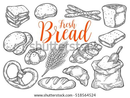 bread vector hand drawn set