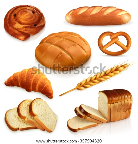 bread  vector icons set
