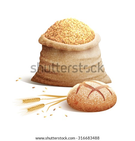 bread wheat spikes and bag of