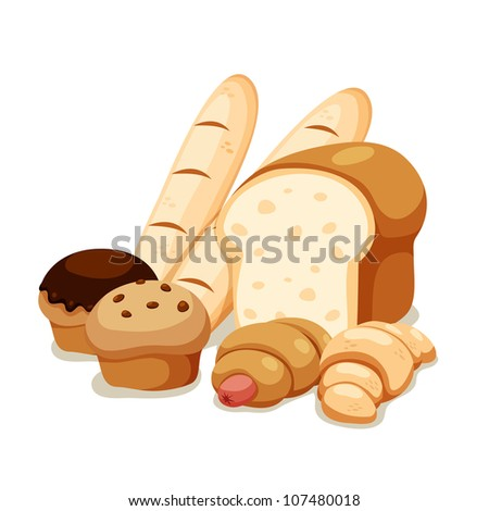 breads set isolated on white