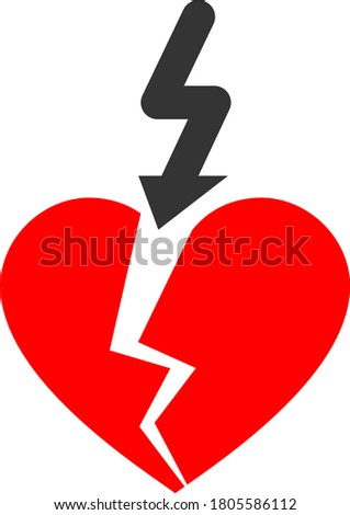 Break Love Heart flat vector illustration. An isolated icon on a white background.