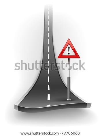 break of asphalt road with warning sign vector illustration isolated on white background