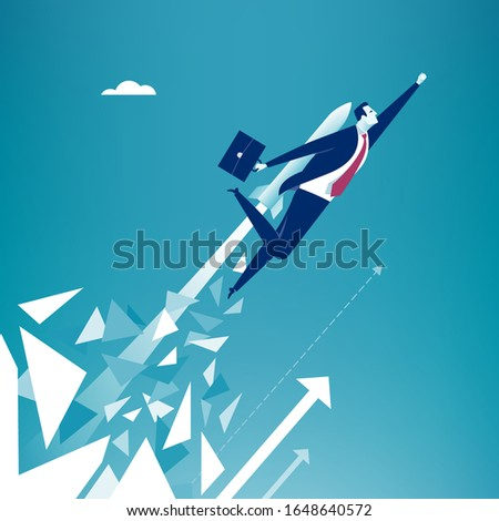 Break out.  Businessman breaks surface and flying up powered by rocket engine. Business vector illustration.