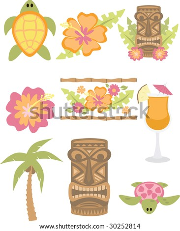 Break out the tiki torches, tropical drinks and lets have a party! This bright and fun set is perfect for all you luau projects
