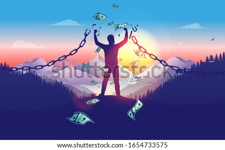 Break the chains to accomplish financial freedom. Man breaking free in sunrise with money raining down, breaking chains, winner, entrepreneur, powerful financial man concept. Vector illustration. ストックフォト ©