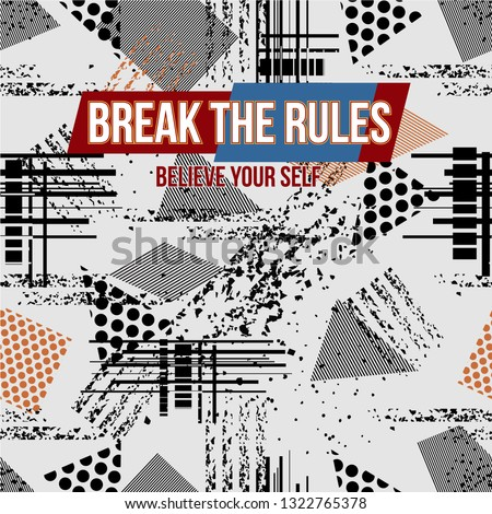 break the rules abstract pattern seamless graphic typography vector design for printed t shirt
