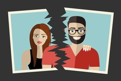 Break up. Crisis relationship divorce. Man and woman tore up a group photo as symbol conflict, unhappy love. Vector illustration flat design. Parting couple.