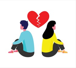 Break up Day. Sad man and woman crying under red broken heart. Bad Valentine's Day. Breakup or divorced couple. Vector illustration.