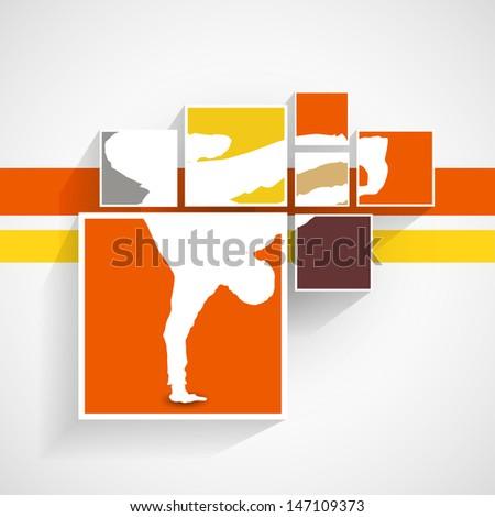 breakdancer illustration in squares/ Vintage colors,