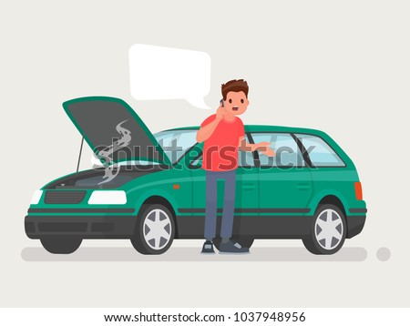 Breakdown of the car on the road. A man calls the service to help. Vector illustration in a flat style Stock photo ©