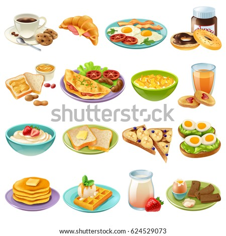 Breakfast brunch healthy start day options food realistic icons collection with coffee and fried eggs isolated vector illustration