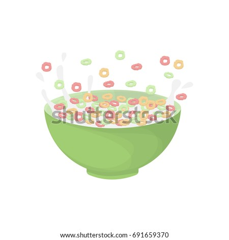 Breakfast cereal bowl. Isolated flakes with milk on white background.