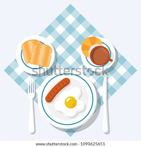 Breakfast concept. Appetizing delicious breakfast of coffee, fried egg with sausage, croissant and slices of toasted bread. Vector illustration flat design. Isolated on background checkered tablecloth