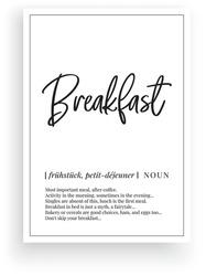 Breakfast definition, vector. Minimalist poster design. Wall decals, breakfast noun description. Wording Design isolated on white background, lettering. Wall art artwork. Modern poster design in frame