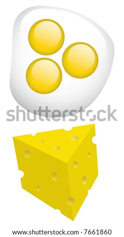 breakfast eggs and cheese - stock vector