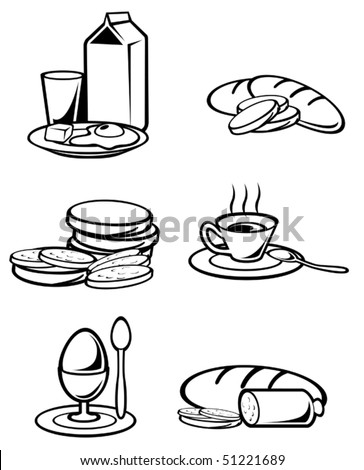 Breakfast food symbols for design isolated on white or logo template. Jpeg version also available in gallery