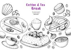 Breakfast hand drawn illustration. Coffee shop menu design. Food sketch. Coffee, tea and desserts. Cafe menu elements