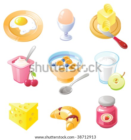 Breakfast Icon set. Set of realistic icons created in Adobe Illustrator. All colors are global. Only simple gradients used.
