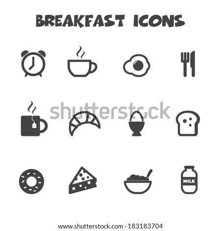 breakfast icons, mono vector symbols