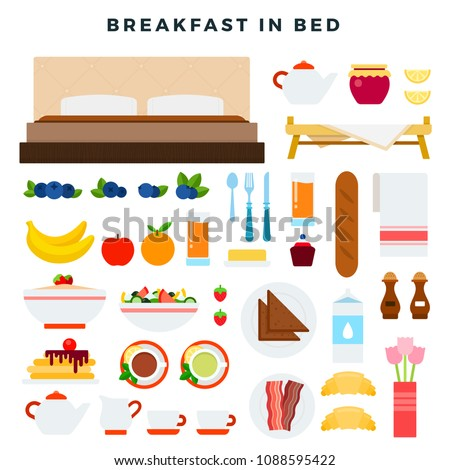 breakfast in bed vector flat