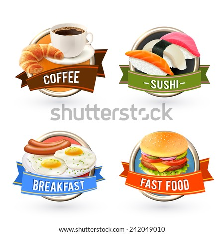 breakfast labels set with