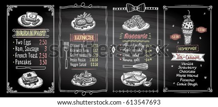 Breakfast, lunch, desserts and ice cream chalkboard menu list designs set, hand drawn graphic illustration, vector collection