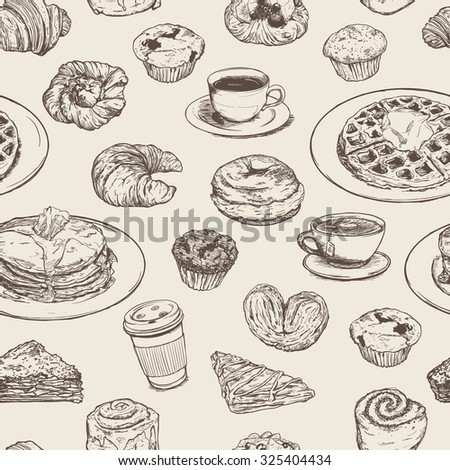 breakfast meal seamless pattern