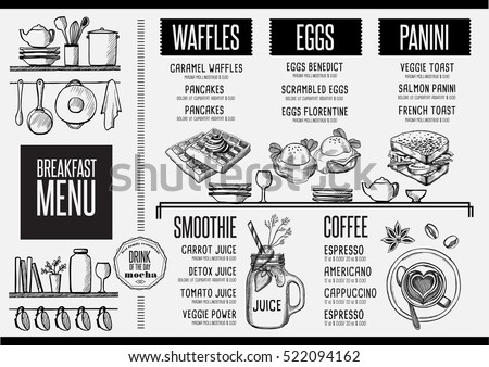breakfast menu placemat food