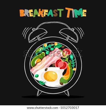 Breakfast menu vector design. Fried eggs, bacon, avocado, tomato, seasoning on plate with alarm clock. Breakfast time concept. Food illustration on black background.